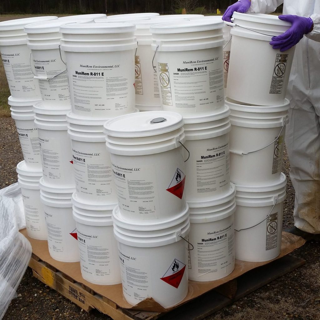 MuniRem Reagent in 45lb pails on pallet for shipment via land, sea or air