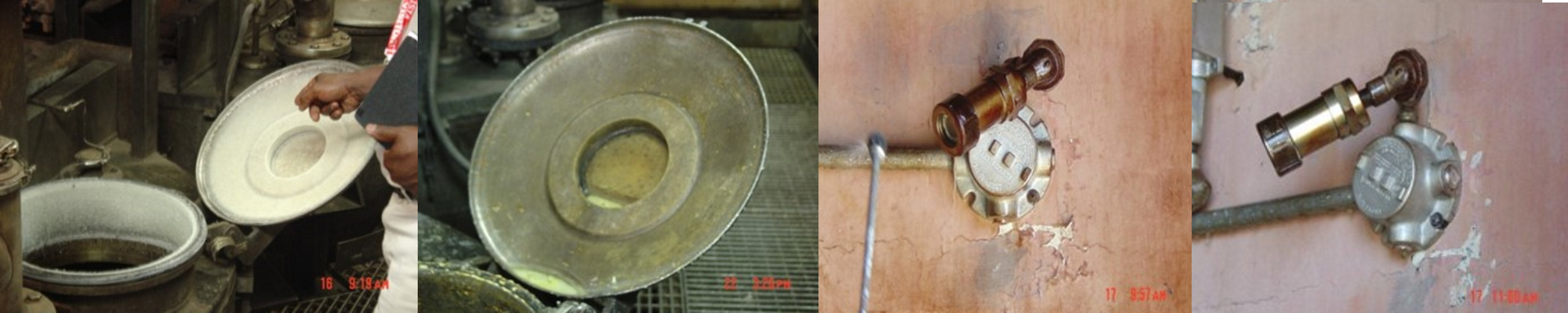 Before and after cleaning explosives contaminated equipment with MuniRem Reagent